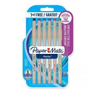 PaperMate Replay stylo bille effaçable, pointe moyenne 1mm, couleurs assorties, lot de 5+1 de la marque Papermate image 0 produit