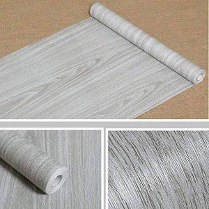 Papier adhésif aspect bois pour comptoir, cuisine, armoires, mur, table, porte, bureau (gris, largeur de 45cm sur une longueur de 10m) de la marque F&U image 0 produit
