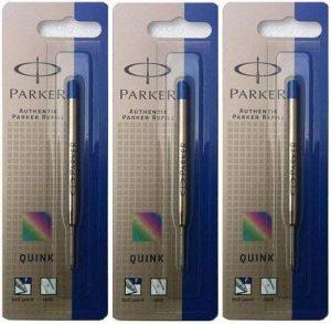 Parker Quink Lot de 3 recharges pour stylo à bille à pointe fine Encre bleue de la marque Parker image 0 produit