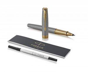 PARKER stylo roller Sonnet, argent ciselé avec attributs finition or, pointe fine – Livré dans son écrin de la marque Parker image 0 produit