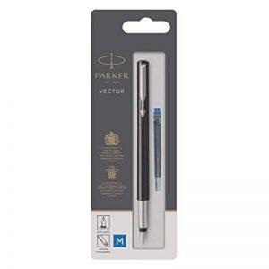 PARKER Vector stylo plume, noir avec attributs chromés, pointe moyenne, encre bleue, emballage blister de la marque Parker image 0 produit