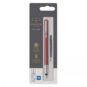 PARKER Vector stylo plume, rouge avec attributs chromés, pointe moyenne, encre bleue, emballage blister de la marque Parker image 0 produit