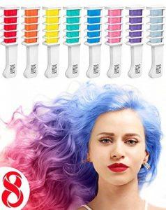 Peigne à Craie pour Cheveux – Coloration temporaire des cheveux – Brosse couleurs – Set de 8 pièces: rouge, rose, vert, violet, gris, jaune, orange et bleu de la marque FauxPeony image 0 produit