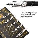 Pen kit d'oie Plume Dip Stylo kit sculpté à la main Feather Dip Pen kit à découper avec élégant Stylo support/bouteille d'encre/5Plume (Noir/rouge/vert) - noir de la marque ALLOMN image 6 produit