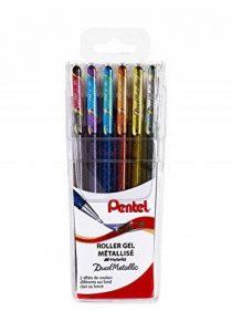 Pentel, Hybrid Dual Metallic K110, Pochette de 6 rollers gel métallisés et irisés, multicolore, pointe 1mm de la marque Pentel image 0 produit