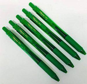 Pentel Lot de 5stylos billes BL107Energel rétractables Vert Pointe en métal 0,7mm Grip en caoutchouc Lot de 5 stylos verts Stylos à encre gel BL107-A de la marque Pentel image 0 produit