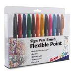 Pentel Stylos feutres avec Pointe Brosse, Multicolore, 2,71x 19,05x 15,24cm de la marque Pentel image 1 produit