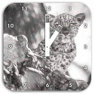 petit léopard curieux effet de dessin au fusain de l'arbre, le diamètre de l'horloge murale 28cm carré avec des mains blanches et le visage, des objets de décoration, Designuhr, composite aluminium très agréable pour séjour, bureau de la marque Stil.Zeit image 0 produit