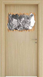 petit léopard curieux sur une percée bois effet dessin au fusain d'arbres en apparence 3D, la taille de la vignette mur ou de porte: 62x42cm, stickers muraux, sticker mural, décoration murale de la marque Stil.Zeit image 0 produit