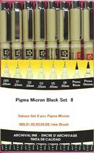Pigma Micron noir 8 toutes les plumes 005,01,02,03,05,08,1mm Brush de la marque Sakura ESPACS BEAUX ARTS image 0 produit