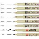 Pigma Micron noir 8 toutes les plumes 005,01,02,03,05,08,1mm Brush de la marque Sakura ESPACS BEAUX ARTS image 1 produit