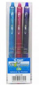 Pilot - Blister 3 FriXion Ball Clicker 0.7 - Roller effaçable - Rose/Violet/Turquoise - Pointe moyenne de la marque Pilot image 0 produit