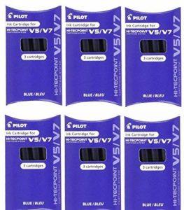 Pilot bxc-v5/V7Bleu Recharge Cartouches d'encre de rechange de remplacement pour stylo roller Hi-Tecpoint V5et système V7Cartouche d'encre liquide rechargeable (Lot de 6–18Cartouches) de la marque Pilot image 0 produit