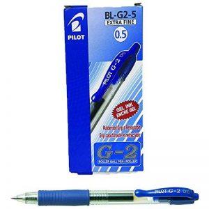 Pilot G2 Lot de 12 Stylo à bille Pointe fine rétractable Encre gel Bleue Corps plastique avec grip caoutchouc de la marque Pilot image 0 produit