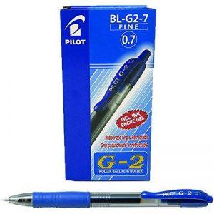 Pilot G2 Lot de 12 Stylo à bille Pointe moyenne rétractable Encre gel Bleue Corps plastique avec grip caoutchouc de la marque Pilot image 0 produit