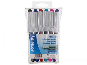 Pilot - V-Pen Effaçable - Stylo plume - Pochette de 6 - Noir/Bleu/Rouge/Vert/Rose/Violet - Pointe Moyenne de la marque Pilot image 0 produit