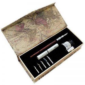 Plume composée d'une tige en bois faite main de la marque Artisome avec de l'encre et six pointes PA-18 de la marque Hethrone image 0 produit