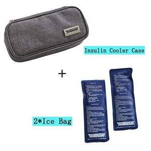 Portable insuline Cooler Bag, Risingmed insuline Cooler Coque Medical Voyage Cooler Lot + 2 packs de glace, Medical Sac isotherme diabétique Organiseur Tissu Oxford 8.27*3.94*1.77 inches gris de la marque Risingmed image 0 produit