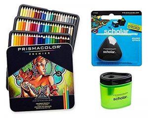 Prismacolor Premier doux Core crayon de couleur, Lot de 72Couleurs assorties (3599tn) + Taille crayon de couleur Prismacolor Scholar (1774266) + Prismacolor Scholar sans latex gomme (1774265) de la marque Prismacolor image 0 produit