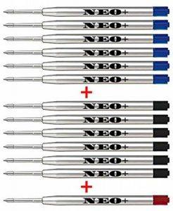 Recharges de stylo à bille de qualité, pas cher mais durable, 12 pièces, point moyen, encre bleue ou rouge. Convient au stylo à bille Parker. G2 Style Recharge Fabriqué en Allemagne (6 x encre noire + de la marque NEO image 0 produit