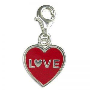 Red LOVE Coeur-Argent 925/1000–Breloque à Clip-On, calligraphie/Sentiment inspirants/Charm de la marque Designer Inspirations Boutique ® image 0 produit