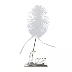 ROSENICE Stylo Plume Blanc avec Porte-stylo Support de LOVE Argent Décoration de Mariage de la marque ROSENICE image 0 produit
