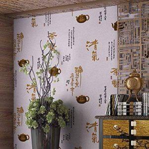 Rétro nontissé de style chinois papier peint calligraphie et peinture rétro de papier peint de thé salon d'étude chambre à coucher arrièreplan papier peint rose de la marque Bomeautify image 0 produit