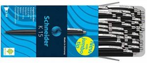 Schneider Lot de 50 stylos à bille K15 avec clip en acier (Noir) de la marque Schneider image 0 produit