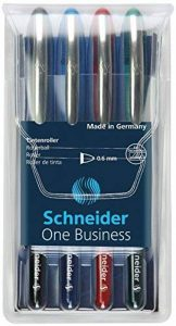 Schneider One Business Pochette de 4 Stylo roller à encre liquide non rétractable Noir/Rouge/Bleu/Vert de la marque Schneider image 0 produit