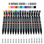 Set de 16 Feutres MicroLine Fineliners à Pointe Ultra Fine par Zenacolor - Pack de 16 Stylos - 11 couleurs différentes en pointes de 0,3 mm et 5 stylos noirs de largeurs différentes (0,25 à 0,5 mm) de la marque Zenacolor image 1 produit
