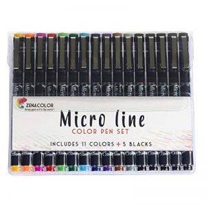 Set de 16 Feutres MicroLine Fineliners à Pointe Ultra Fine par Zenacolor - Pack de 16 Stylos - 11 couleurs différentes en pointes de 0,3 mm et 5 stylos noirs de largeurs différentes (0,25 à 0,5 mm) de la marque Zenacolor image 0 produit