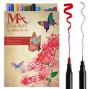 Set de stylos pinceaux à deux pointes– 12 couleurs – qualité supérieure, créez des effets aquarelle – parfait pour cahiers de coloriage adulte, bullet journal , calligraphie– MozArt Supplies de la marque MozArt Supplies image 0 produit