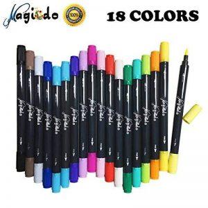 Set de stylos pinceaux Magicdo aquarelle, 18 couleurs stylo marqueur double pointe, stylo à colorier à base d'eau, pinceau avec pointe fine pour la coloration, croquis et peinture de la marque Magicdo® image 0 produit