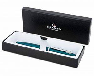 Sheaffer VFM Series Stylo à plume en acier inoxydable finition satinée avec bordure plaquée nickel Chromé Vert paon/turquoise et pointe moyenne 37mm cartouches d'encre Bleu/noir et boîte incluses de la marque SHEAFFER image 0 produit