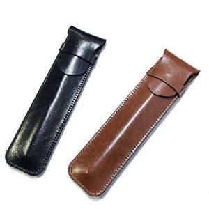 Shuxy Porte-stylo en Cuir Fait Main Pochette pour Stylo-plume Protecteur de Stylo Doux Housse de Manche pour Stylo à Bille, Stylet - Paquet de 2 ( Noir & Marron ) de la marque Shuxy image 0 produit