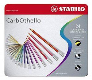 STABILO CarbOthello - Boîte métal de 24 crayons de couleur fusains pastels - Coloris assortis de la marque STABILO image 0 produit