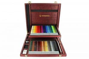 STABILO CarbOthello - Coffret bois de 60 crayons + taille-crayon + gomme spéciale + 1 estompe - Coloris assortis de la marque STABILO image 0 produit