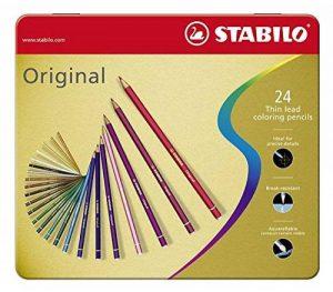 STABILO Original - Boite métal de 24 crayons de couleur à mine fine - Coloris assortis de la marque STABILO image 0 produit