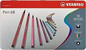 STABILO Pen 68 - Boîte métal de 50 feutres pointe moyenne - Coloris assortis de la marque STABILO image 0 produit