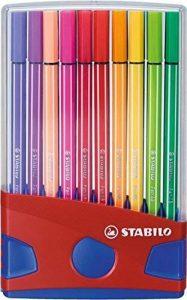 STABILO Pen 68 - ColorParade rouge de 20 feutres pointe moyenne sans attache - Coloris assortis de la marque STABILO image 0 produit