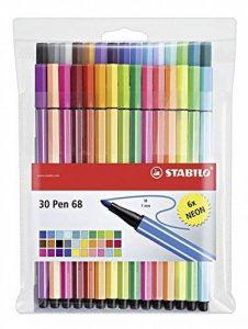 STABILO Pen 68 - Pochette de 30 feutres pointe moyenne - dont 6 couleurs fluo de la marque STABILO image 0 produit