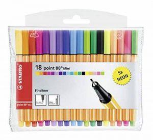 STABILO point 88 Mini - Pochette de 18 stylos-feutres pointe fine - dont 5 couleurs fluos de la marque STABILO image 0 produit