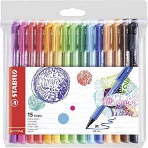 STABILO pointMax - Pochette de 15 stylos-feutres pointe moyenne en nylon - Coloris assortis de la marque STABILO image 0 produit