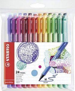 STABILO pointMax - Pochette de 24 stylos-feutres pointe moyenne en nylon - Coloris assortis de la marque STABILO image 0 produit