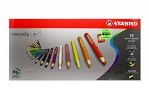 Stabilo Uk2/880–18 Woody 3 en 1 Multi Purpose crayon – Couleurs assorties (Lot de 18) de la marque STABILO image 0 produit