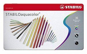 STABILOaquacolor - Boîte métal de 36 crayons de couleur aquarellables - Coloris assortis de la marque STABILO image 0 produit