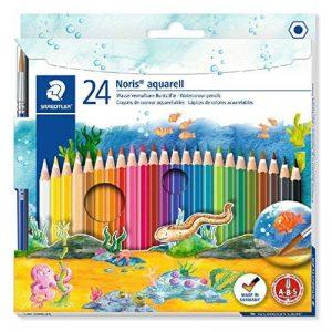 Staedtler crayon de couleur aquarellable Noris Club, norme CE EN71, bois certifié PEFC, formule ABS anti-casse, 24 couleurs assorties plus pinceau en étui carton, 144 10NC24 de la marque Staedtler image 0 produit