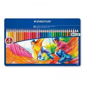 Staedtler crayon de couleur, formule ABS anti-casse, norme CE EN71, bois certifié PEFC, 36 coloris assortis en boîte métal, 145 SPM36 de la marque Staedtler image 0 produit