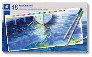 Staedtler crayons de couleur aquarelables karat, haute qualité, miscibilité des couleurs, boîte métal de 48 crayons de couleurs assortis, 125 M48 de la marque Staedtler image 0 produit