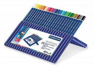 Staedtler crayons de couleurs aquarellables ergosoft, forme triangulaire ergonomique, protection anti-casse, revêtement agréable au toucher, étui chevalet Staedtler de 24 crayons, 156 SB24 de la marque Staedtler image 0 produit